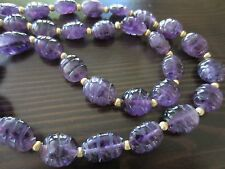 Vintage Art Deco Chinese HandCarved 195ct Amethyst 14k Gold Beads/Clasp Necklace