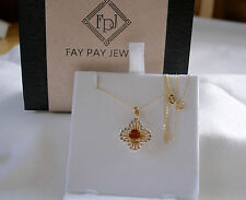 FPJ- .52 Ct. Madiera Citrine Solitaire  14k Two Tone Gold Pendant & Necklace
