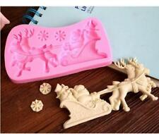 Xmas Reindeer + Sleigh silicone mould Cake Icing Christmas Santa Claus S4