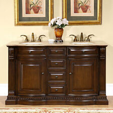 60-inch Bathroom Double Vanity Travertine Top Dual Ivory Sink Cabinet 0712TR