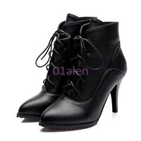 Ladies Stiletto High Heel Lace Up Pointed Toe Ankle Boots Classic Shoes SZ 34-45