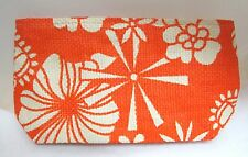 Fun Bright Orange Tan Tropical  Hawaiian Floral Woven Clutch Purse Hand Bag T26