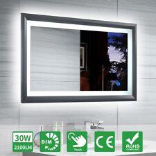LED Badspiegel 100x60 mit Touch Schalter Dimmbar Helligkeit Wandspiegel Schwarz