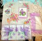VINTAGE PANSY LILAC FLORAL RELATED - HANKIES, NAPKIN, CARD & BOX