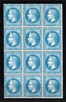 "FRANCE YVERT 29B SCOTT 33 "" EMPEROR NAPOLEON 20c BLUE 1868 BLOCK 12"" MNG VF R522"