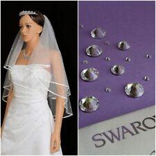 White Ivory 2t Bridal Wedding Veil with Comb Elbow Swarovski® Crystals Diamante