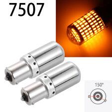Rear Turn Signal Bulb BAU15S 7507 PY21W 144 SMD Chrome Silver LED Amber W1 JAE