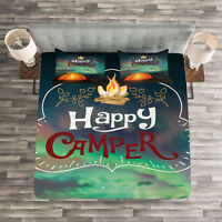 Happy Camper Quilted Bedspread & Pillow Shams Set, Camping Theme Print