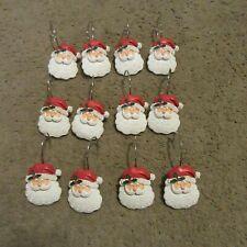 CUTE!! Set of 12 Molded Ceramic Santa Face Shower Curtain Hooks