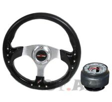 Ford Mustang Trim Frame 320mm Racing Steering Wheel+ Hub Adapter Black/Chrome