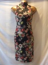 LADIES ClubL 8 BLACK STRETCH-MULTI FLORALS/POLO NECK/SLEEVELESS BODYCON FROCK