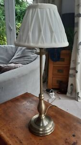 Tall Brushed Brass Candle Stick  Table Lamp With Cream Pinch Pleat Shade