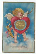 Vintage Postcard To my Valentine, Cupid shot straight., Posted 1910, Embossed.
