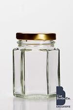 110 X  110ml / 4OZ HEXAGONAL GLASS JAM WEDDING FAVOURS SWEETS JAR