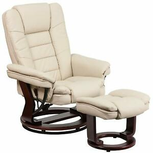 Flash Furniture Leather Recliner and Ottoman with Swiveling Mahogany Wood Base