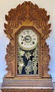 Antique GILBERT NAVY #26 Clock Kitchen 1880's 8 Day Time & Strike Alarm RUNNING