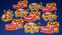 THE CARS PARTY SUPPLY DECORATION FOAM FIGURES 10 PACK GLITTER