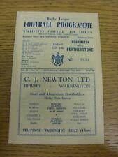 21/01/1961 liga de rugby programa: Warrington V Featherstone Rovers (plegado). Bo
