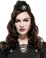 Punk Rave Steampunk Military Hat Cap Army Uniform Black PU Leather Copper WW2
