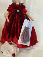 """Grodnertal Peg Doll Red Silk Velvet Dress fit 11"""" Tall doll  Raine vonHohen"""