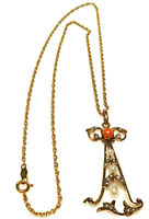 VICTORIAN 14K YELLOW GOLD SEED PEARL CORAL LAVALIER CABLE CHAIN NECKLACE