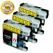 3pk Black Ink for Brother LC-203 LC203 XL LC201 MFC-J680DW MFC-J880DW MFC-J885D