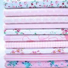 REMNANTS - 10 FAT QUARTERS PASTEL PINKS FLORAL BUNDLE POLY COTTON FABRIC
