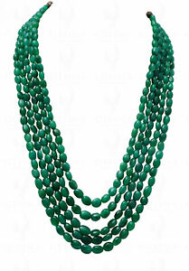 5 Rows Of Emerald Gemstone Oval Shaped Cabochon Bead Necklace NP1001