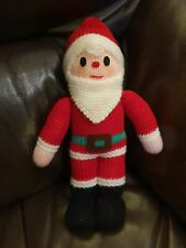 """Hand knitted SANTA FATHER CHRISTMAS toy decoration 11"""" tall"""