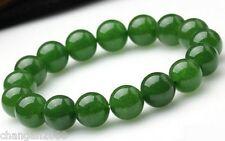 beautiful nature 10mm  round green jade bead stretch bracelet