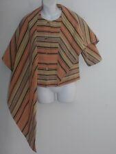 Tia Cibani Peach Mixed Striped Jacket with Scarf Extention Sz 2 NWT $895