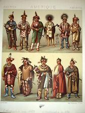 INDIANI. NORD AMERICA 1850 LITOGRAFIA stampata a colori