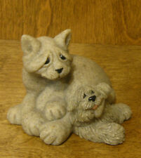 "Quarry Critters #46481 Cari & Don - Cat & Pup, 4"" Tall NEW from Retail Store"