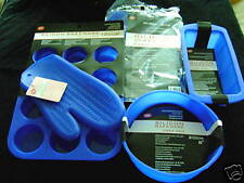 NEW SILICONE 5 CAKE MOULD SET ROUND LOAF MUFFIN MAT MITT NONSTICK BLUE