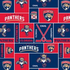NHL HOCKEY FLORIDA PANTHERS PW FLEECE FABRIC MATERIAL BY THE 1/2 YARD FOR CRAFTS