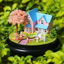Sakura LED Glass Wood Model Kits Dollhouse DIY Garden House Handcraft Toy Gift