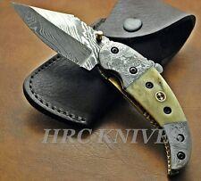 """DI3 ~ 7.5"""" CUSTOM HANDMADE HRC DAMASCUS FOLDING KNIFE BONE & MOSAIC PIN"""