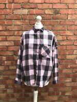 Topshop Pink Check Shirt Lumberjack Blouse Casual Top SiZe 8 B17
