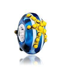 MATERIA 3D Murano Glas Beads Anhänger Seestern Meer 925 Silber blau gelb