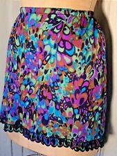 New listing Vintage psychedelic Half Slip nylon S mini Skirt short Mod blue Purple pop art