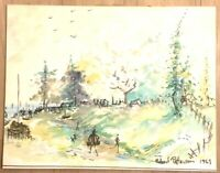 Robert Patterson Midcentury Impressionism Watercolor 1969 Painting Signed 14x18