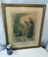 Vtg 1933 Lithograph Print Jesus with Mary Religious Church Lesson Advertisement