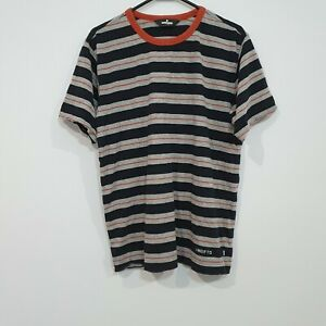 Undefeated UNDFTD Black and Grey Striped Tee Size Medium
