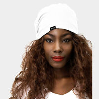 Hat Satin Lined Beanie Cap Versatile and Stylish Stretch Satin Poly Knit  White 2bf2c20b20d2