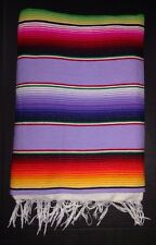 "Mexican Serape Blanket Lavender Multi-colored Striped white fringe 82"" X 62"" XL"