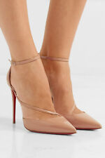 Christian Louboutin Fliketta Patent 100 Nude Beige Ankle-Wrap Pumps 38.5 Shoes