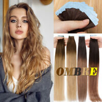 Ombre/Balayage Tape In 100% Remy Human Hair Extensions Invisible Long Skin Weft