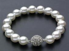 """AAA 12mm Gold South Sea Shell Pearl Bracelet 7.5"""" Magnet Clasp"""