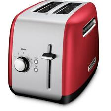 Red And Silver 2-Slice Toaster With Bagel Button for One Side Toast KitchenAid