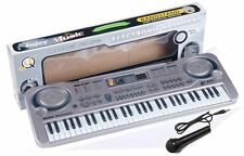 61 Key Digital Electronic Keyboard & Microphone Electric LED Piano Organ MQ-6101
